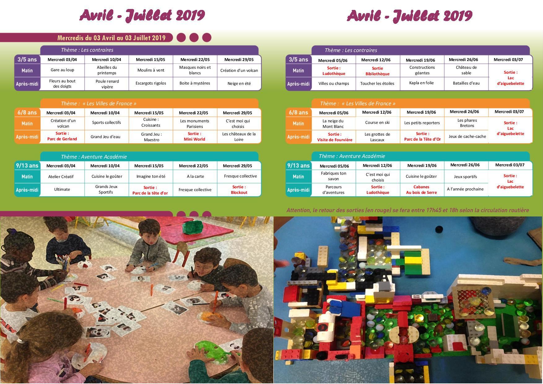 Programme des accueils de loisirs des mercredis d'avril à juillet