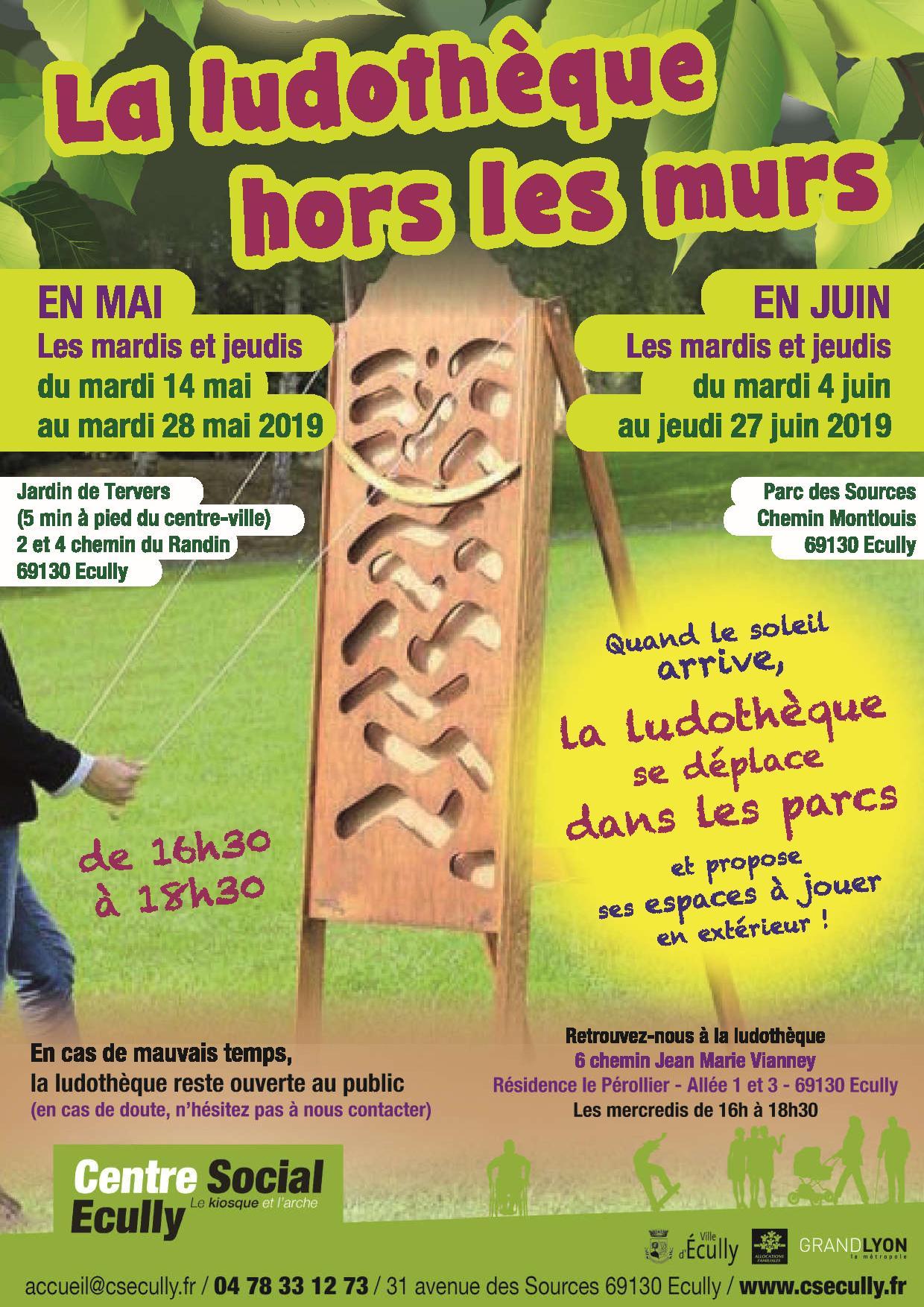 Retrouvez la ludothèque dans les parcs d'Ecully, en mai et juin