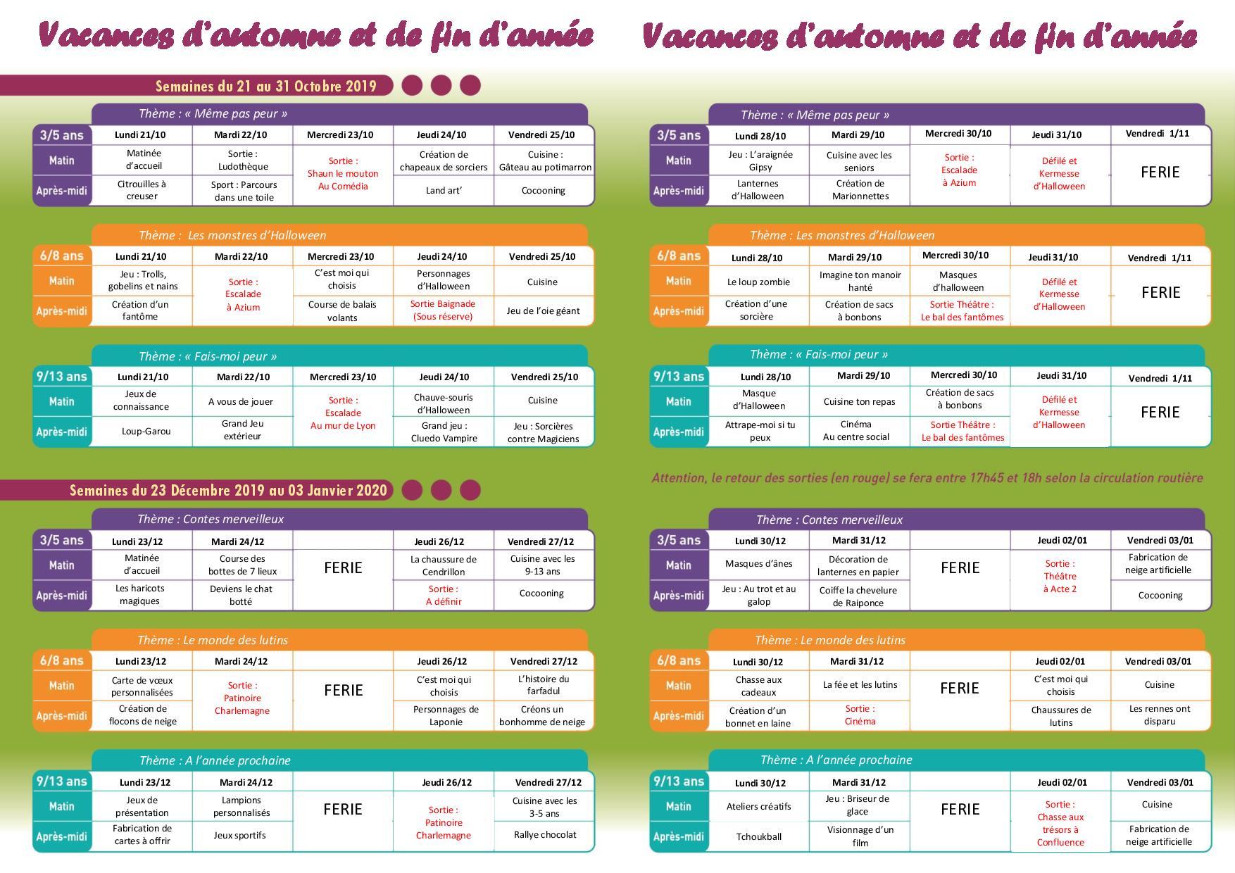 Programme des accueils de loisirs vacances d'automne et de fin d'année