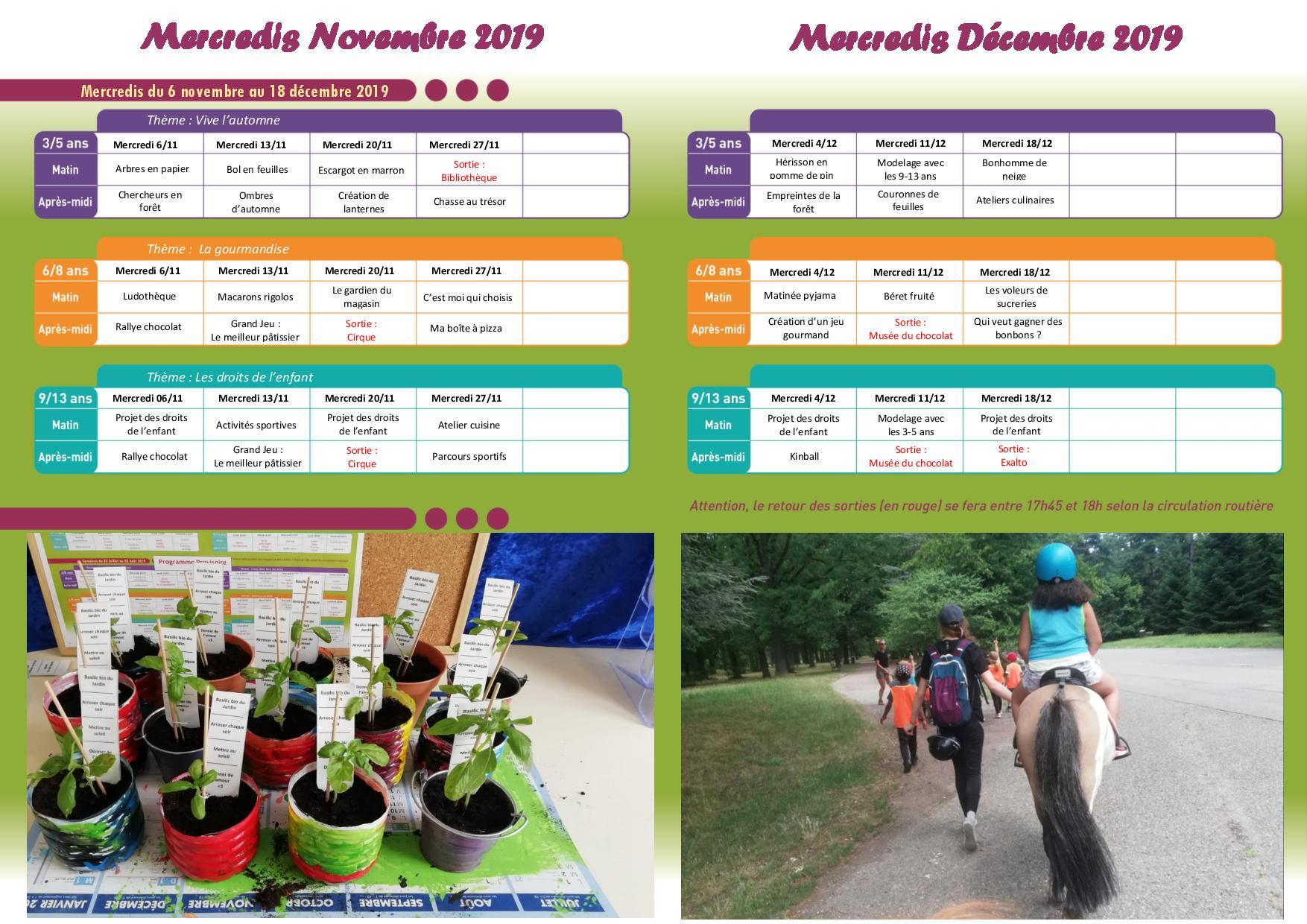 Programme des accueils de loisirs du mercredi 6 novembre au mercredi 18 décembre