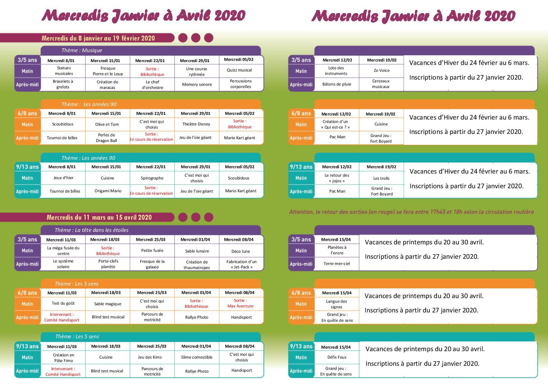 Programme des accueils de loisirs des mercredis du 8 janvier au 15 avril 2020