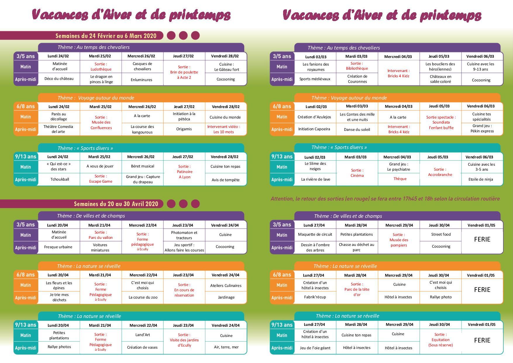 Programme des accueils de loisirs pour les vacances d'hiver et de printemps